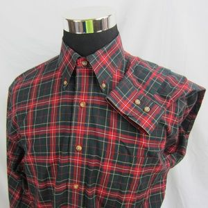 BROOKS BROTHERS 346 Mens L Red Plaid Button Shirt